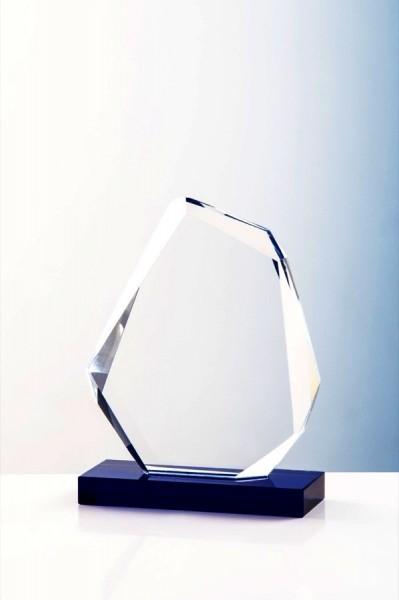 Kristallaward mit blauem Sockel