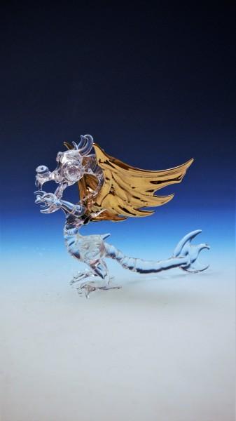 Kristall- Drache mit Goldauflage