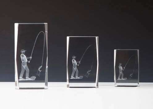 "Kristallblock mit 3 D Gravur ""Angeln"""