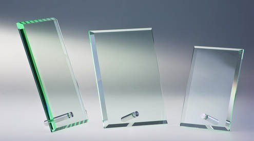 Glas Trophäe mit Metallstab