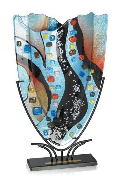 Glas-Skulptur-Vase-Glaspokal