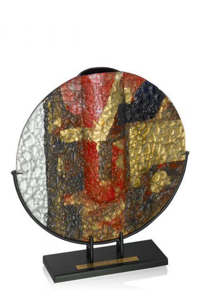 Glastrophäe-Vase, Sockel aus Metall