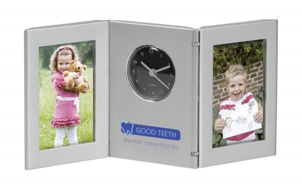2 Fotorahmen mit Uhr