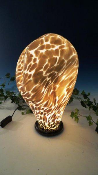 Glaslampe weiß-braun