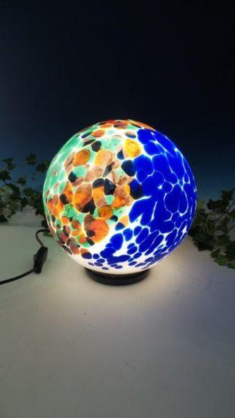 Glaslampe silber-bunt