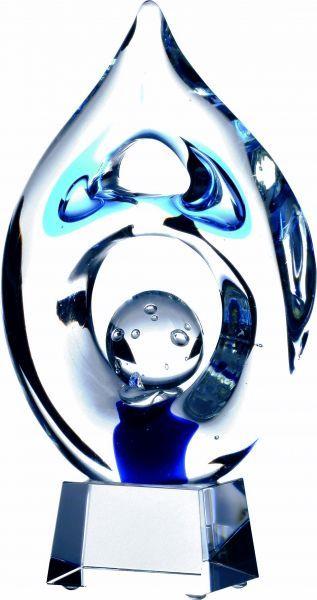 Glasskulptur blau klar auf Kristallsockel