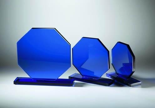 Glastrophäen Blue Achteck
